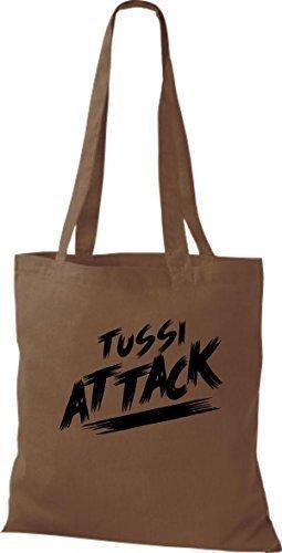 ShirtInStyle Bolsa de tela Bolsa de algodón Tussi Ataque - fucsia, 38 cm x 42 cm marrón medio