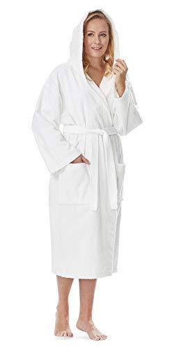 - Arus Women's Classic Hooded Bathrobe Turkish Cotton Terry Cloth Robe (XS,White)