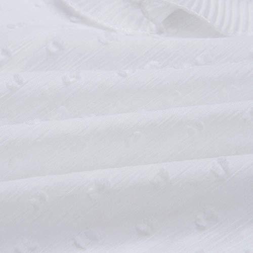 Mode Marca Pois Lunga Elegante Base Colletto Tondo Top Delle Solido Donne Collo Della Colore Di Maglietta Casuale Manica Pizzo Signore A Bianca De Citazione 2018 Da O PI0wZS7