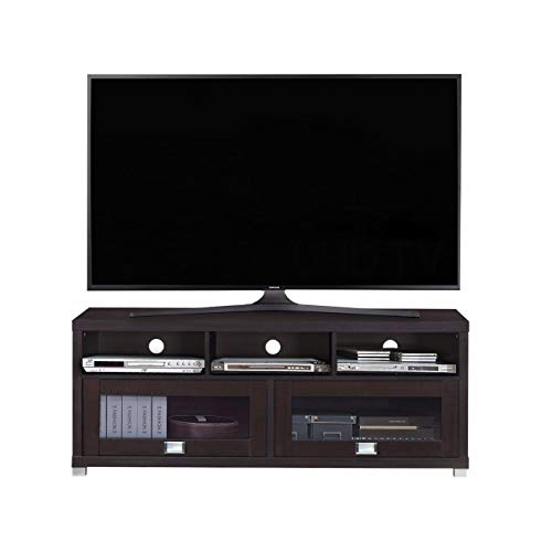 TV Stand Unit Entertainment Media Console 2 Storage Cabinets with Glass Door and 3 Open Shelves Spacious Perfect for Home Living Room Bedroom Apartment Use Accommodates Flat Panel TVs Up to 75' Wide