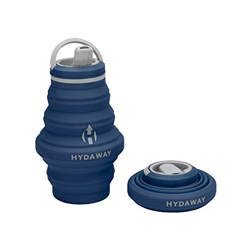 HYDAWAY Collapsible Water Bottle, 17 oz Spout Lid | Ultra-Packable, Travel-Friendly, Food-Grade Silicone (Seaside)