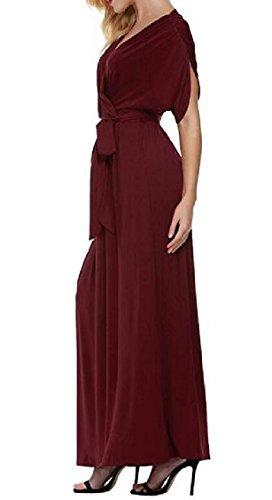 Jaycargogo Femmes Court Manches Wrap Col V En Vrac Longue Robe Sexy Avec Vin Rouge De La Ceinture