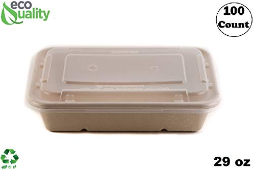 [100 Pack] 29oz Compostable Eco Friendly Container Trays with Lids - Rectangular Oblong Tree Free Sugarcane Bagasse Meal Prep Bento Boxes Take Out Catering Microwavable Deep Container by EcoQuality