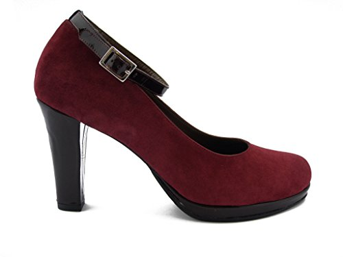 Leather Shoe Womens 9 Strap Hazards Plateau High Ankle 014 Red Oswald Decolletè And Suede Dark Cm Heels qYBrBxPd