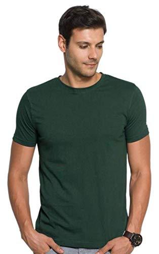 672373b44 EUROSCOT Plain Men's Bottle Green Round Neck T-Shirt: Amazon.in: Clothing &  Accessories