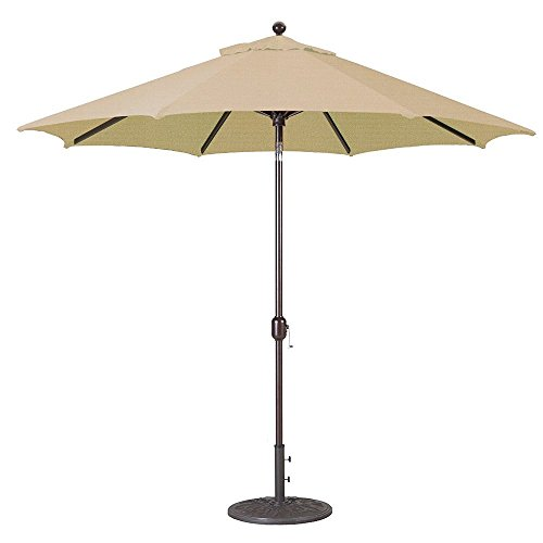 9Ft Galtech (Model 737) Deluxe Auto-Tilt Umbrella w/Antique Bronze Frame & Sunbrella Fabric: Heather Beige
