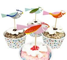 Pink and Blue Birds Cupcake Toppers Party Picks (24 pieces) -