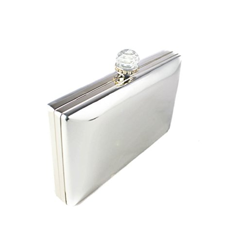 Prom Sparkling Party Diamante Crystals Clutch Women's Evening Wedding silver Bag Shiny Silver Foxlady Bag 18 EPWqRvv