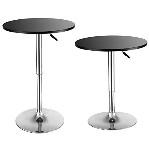 Round Bar Table Adjustable Bistro Pub Counter Wood Top Swivel Set of 2 (Table Set Regency Pub)