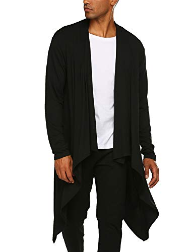 COOFANDY Men's Ruffle Shawl Collar Cardigan Sleeveless Open Front Vest Lightweight Cotton Long Length Drape Cape (Black(Long Sleeve), Medium) (Long Black Vest Men)