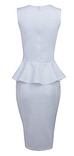 Made2envy Bodycon Midi Peplum Dress with Square Neckline (L, White) C6150-1L