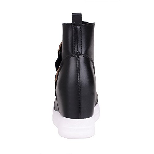 High Solid Closed Pu High Women's Black Pointed Toe Boots Ankle Heels Allhqfashion RxXwg8Tw