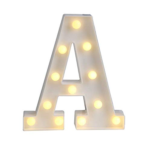 Sunnyglade White Marquee LED Alphabet Lights Arabic Numerals Lights for Party Home Bar Wedding Decor, Alphabet Wall Decoration Letter Lights (A)