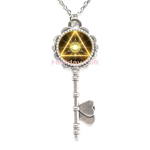 Fashion Key Necklace,Gold Sacred Geometry Cabochon Glass Tibet Silver Chain Key Pendant Key Necklace,H042 (S1)
