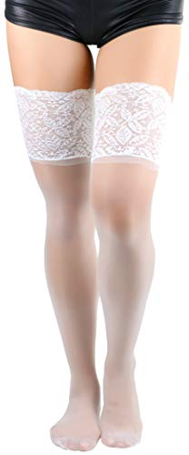 ToBeInStyle Women's Lycra Thigh High With Silicone Lace - White - OSP