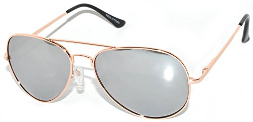 Classic Aviator Style Colored Lens Sunglasses Metal Frame (Gold-Silver-Mirror-Spring, - Aviator Colored Mirrored Sunglasses