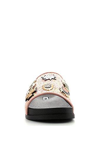 Kvinnor Glitter W / Metall Hängande Mode Casual Glid Sandaler Moira-25 Rosa