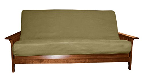 Better Fit Machine Washable Upholstery Grade Futon Cover , Full 8-inch Loft-size, Microfiber Suede Olive Green Full Slipcover
