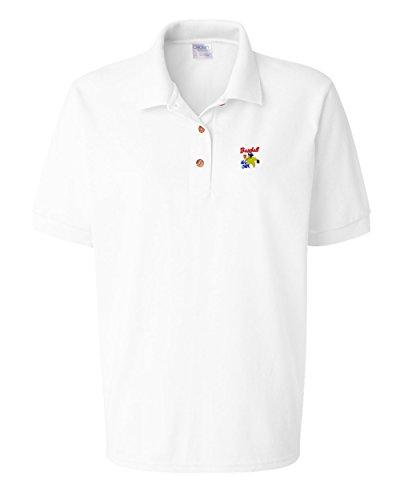 Sport Baseball All Star Embroidery Polo Shirt Golf Shirt - White, Large All Star Embroidered Jersey