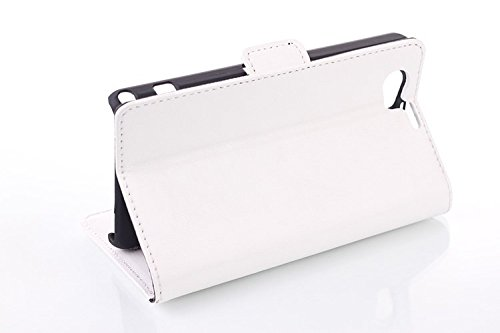 JUJEO Oil Buffed Leather Card Slots Kickstand Case for Sony Xperia Z1 Compact D5503 - Retail Packaging - White