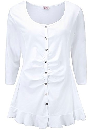 Joe Browns Modische Jersey-Bluse, sommerliche Tunika, Damen LongShirt langarm weiß, auch in großen XL Größen Marken Blusenshirt geknöpft mit Volant