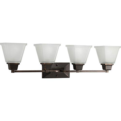 (Progress Lighting P2745-74 4-Light Bath Fixture with Square Etched Glass and Can Mount Up Or Down, Venetian Bronze)