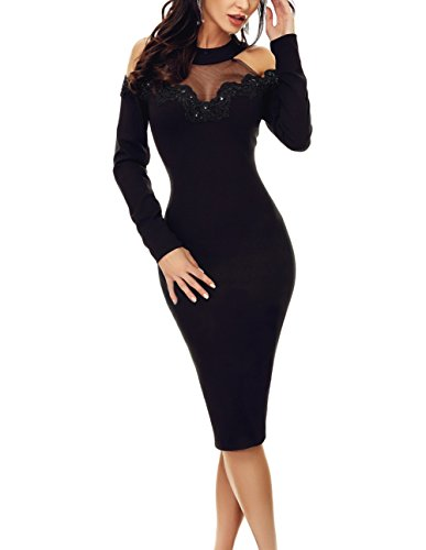 QUEENIE VISCONTI Women Summer Black Crochet Applique Mesh Insert Cold Shoulder Party Dresses ()