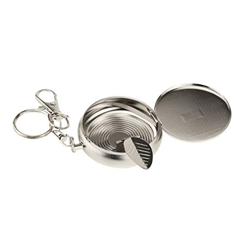 (Aufew Mini Portable Ashtray, Windproof Cigarette Ash Holder Pocket Watch Shape Metal Cigar Ashtray with Keychain Design for Outdoors)