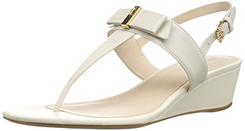 Cole Haan Women's Elsie Hrdware Ii Wedge Sandal, Ivory, 9 B US - Ivory Dress Sandals