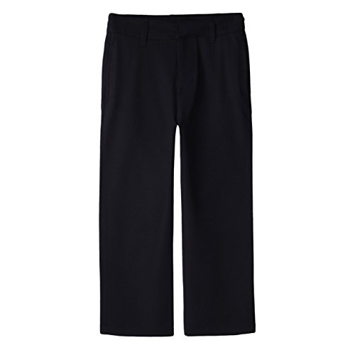 Bienzoe Boy's School Uniforms Stretchy Polyester Adjust Waist Flat Front Pants Black 16 ()