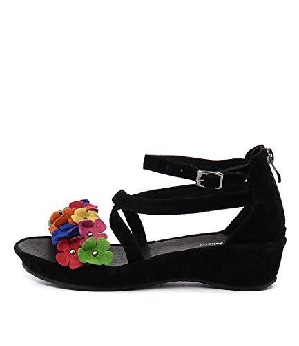 DJANGO & JULIETTE Londa Black Bright Flowers Womens Shoes Medium Heels Summer Wedges BLACK BRIGHT FLOWERS SUEDE