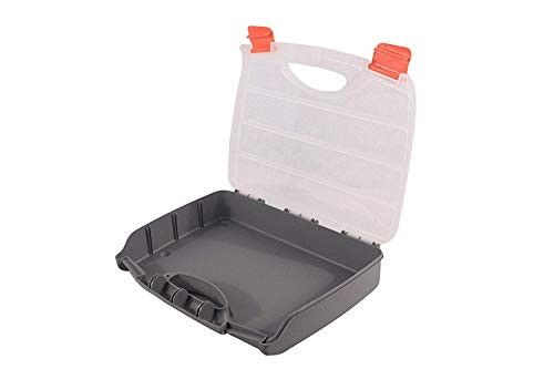 (BangQiao Plastic Empty Storage Box without Compartment,Plastic Tool Box with Handle for Large and Lightweight Parts, Grey Clear)