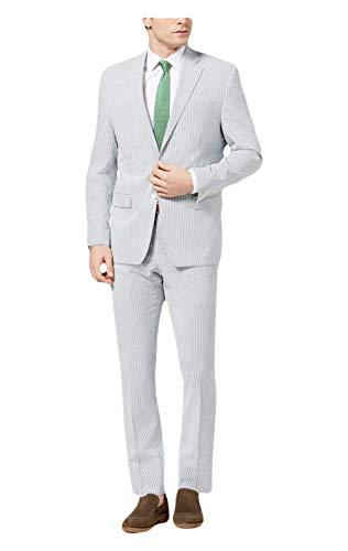 RALPH LAUREN Lauren Men's Classic-Fit Ultraflex Blue White Seersucker Suit, Blue/White (36 Reg / 30W)