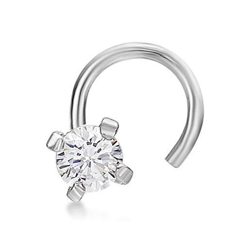 Lavari - 14K White Gold 2mm White Cubic Zirconium Nose Ring Curve Stud Twist Screw 22G ()