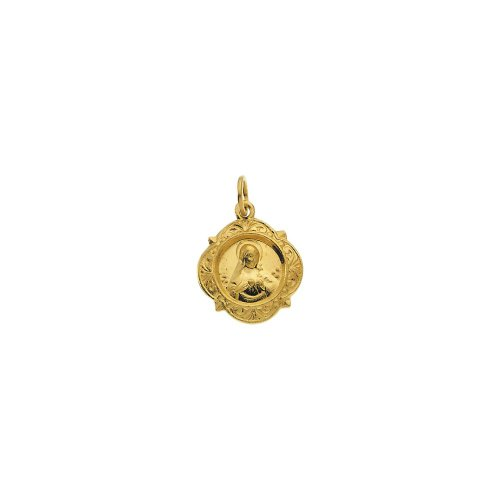 14k Yellow Gold Immaculate Heart Of Mary Medal 12.14x12.09mm