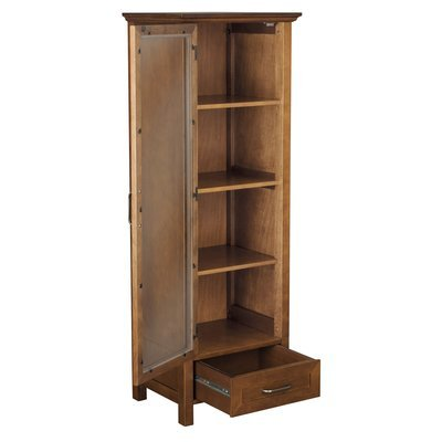 Elegant Practical Linen Tower, Wood Construction, Ample Storage Space, Tempered Glass Door, Oil Oak Finish by Jaxterrific (Image #6)