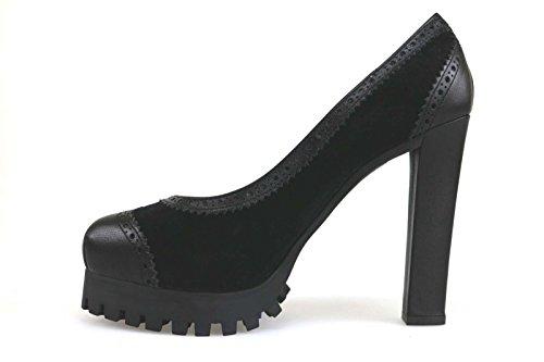 Chaussures Femme DSQUARouge Escarpins Noir cuir daim AM642