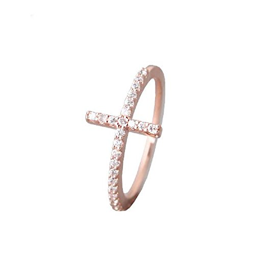 CloseoutWarehouse Clear Cubic Zirconia Sideway Long Cross Ring Sterling Silver