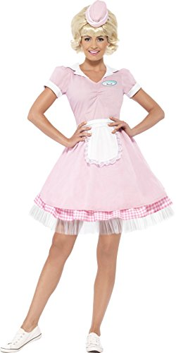 [Smiffy's Women's 50's Diner Girl Costume, Dress and Mini Hat, Rockin' 50's, Serious Fun, Size 10-12, 43183] (Diner Waitress Costumes)