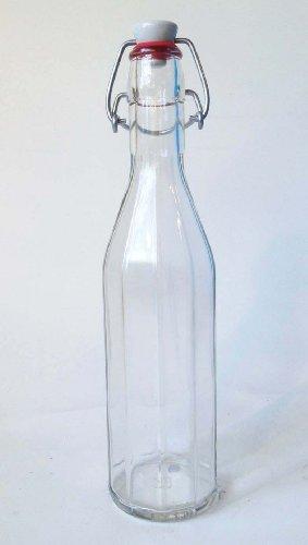 12 Traditional 500ml Fluted Glass Bottles & Ceramic Swing...
