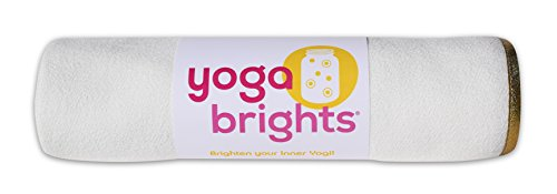 YogaBrights WHITE/GOLD Skidless Mat-size Yoga Towel - Ultra Absorbent & Lightweight!