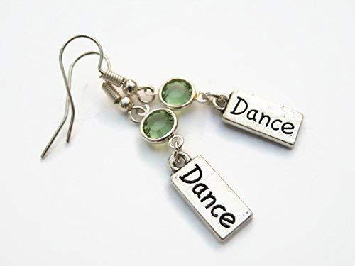 Dance Birthstone Earrings, Personalized Dancer Earrings, Athletic Earrings, Dancer Jewelry, Dance Jewelry