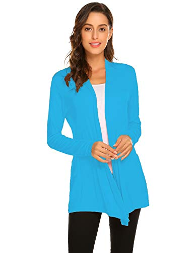 Newchoice Women's Loose Casual Open Front Cardigans Long Sleeve Lightweight Cardigan Sweaters All Seasons (Light Blue, L)