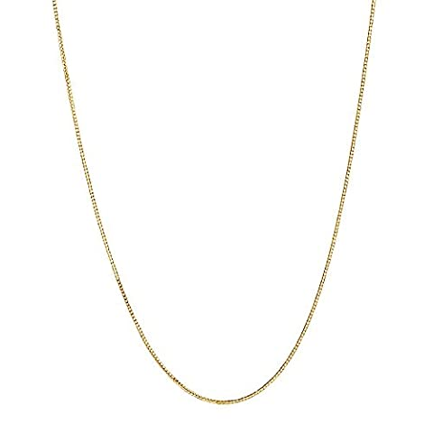 10k Yellow Gold Extendable Adjustable Box Chain Necklace 0.7 Mm 16-22 Inches (14k Yellow Gold Box Chain 16 Inch)