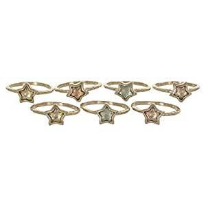 Venus Accessories Women's Gold Plated Set of 7 Brass Ring - 8 US