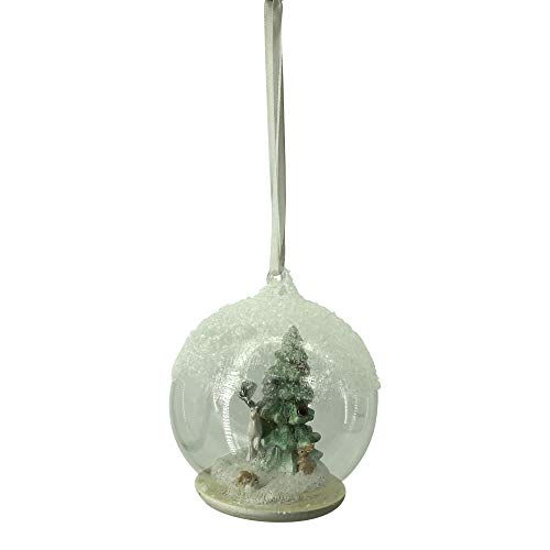 (Comfy Hour Snowing Winter Reindeer and Xmas Tree in Glass Ball Christmas Tree Ornament, Xmas Decoration, White & Green)
