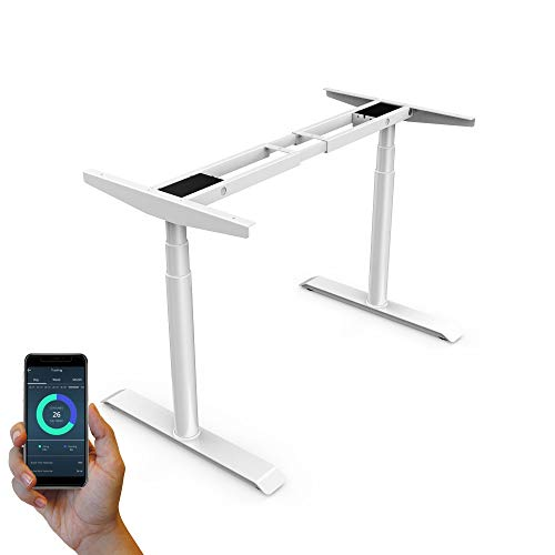 StudiONE-Dual-Motor-Electric-Height-Adjustable-Standing-Desk-Frame-2-USB-Chargers-Smart-APP-Memory-Controller-Sit-Stand-Home-Office-Table-White-Frame-Only