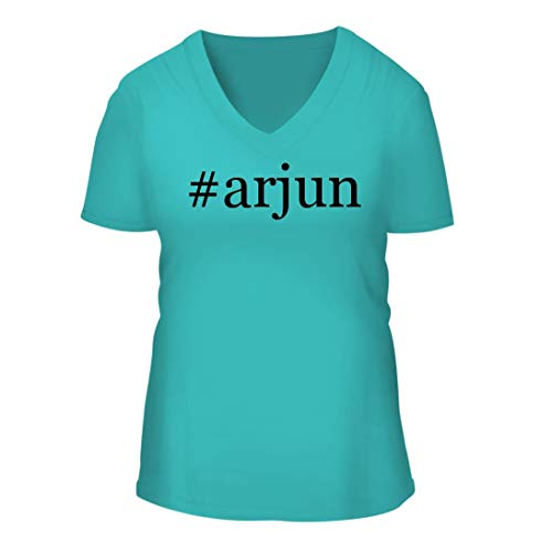 #Arjun - A Nice Hashtag Women's Short Sleeve V-Neck T-Shirt Shirt, Aqua, Large