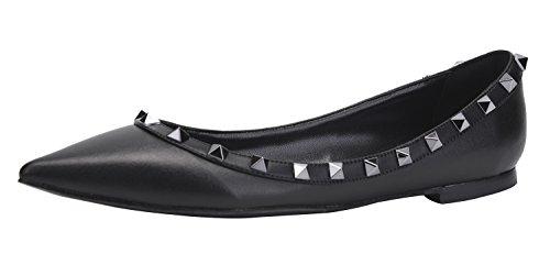 CAMSSOO Damen Klassische Nieten Spitzen Zehen Slip On Comfort Wohnungen Kleid Pumps Schuhe Schwarz Weich Pu