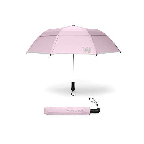 The Weatherman Umbrella – Collapsible Umbrella Made with Teflon-Coated Fabric – Built to Withstand Winds Up to 55 MPH – Available in 8 Colors